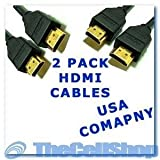 2-piece of Super High Resolution Hdmi 2m (6 Feet) Accessory Bundle for Hdtv, Plasma, Lcd, Ps3, DVD Players, Satellite & Cable Boxes