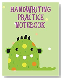 Handwriting Practice Notebook For Kids - A colorful and cute green monster makes a cute cover for this handwriting practice notebook for younger kids.