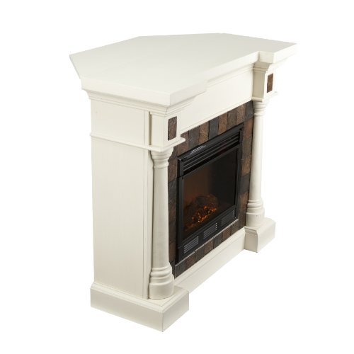 SEI Carrington Faux Slate Convertible Electric Fireplace, Ivory