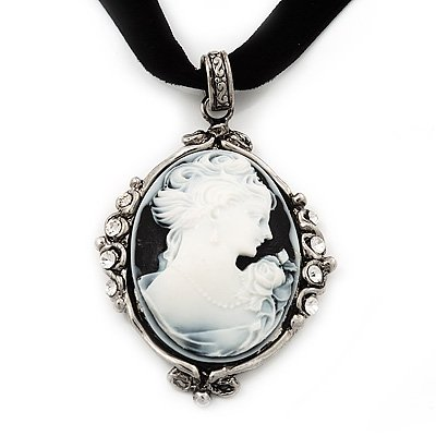 Victorian Style Crystal 'Cameo' Pendant On Black Velour Cord Choker Necklace In Silver Tone - 35cm Length (8cm extension)