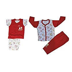 NammaBaby Premium Quality T-Shirt Pant and Nekar Shorts Combo Setof 4 Pc (0-4 months) (RED)