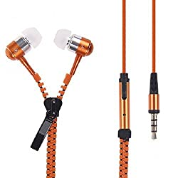 Spider Designs-3.5mm zip Bomb Base Microphone enbuilt Premium tangle free Zipper Earphone - Orange