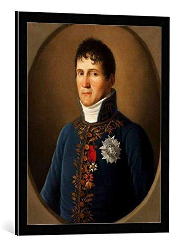 """Quadro con cornice: Stefano Tofanelli """"Portrait of Felix Baciocchi, prince de Lucques et de Piombino (1762-1841)"""" - stampa artistica decorativa, cornice di alta qualità, 55x70 cm, nero / angolo grigio"""