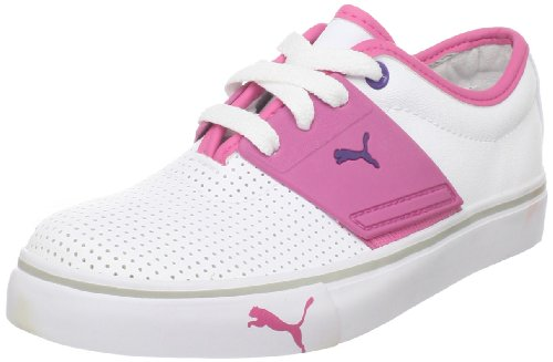 Puma EL Ace JR Sneaker (Little Kid/Big Kid),White/Shocking Pink/Team Violet,3.5 M US Big Kid