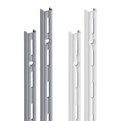Wandschiene PRIMESLOT (2 Stück) | 1-reihig | 2 Dekore | 4 Längen | für Regalsystem, Regalträger | 995 mm weiß