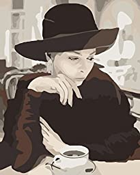 [ New Release ] Diy Oil Painting by Numbers, Paint by Number Kits - Melancholy Woman Own World 16*20 inches - Digital Oil Painting Canvas Wall Art Artwork Landscape Paintings for Home Living Room Office Christmas Decor Decorations Gifts - Diy Paint by Num