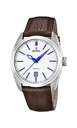 Festina F16777/2 - Reloj de cuarzo para hombre, con correa de cuero, color marrón