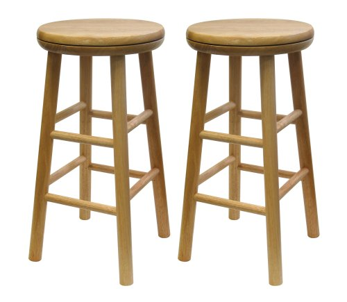 Winsome Wood 24-Inch Swivel Seat Barstool with Natural Finish, Set of 2