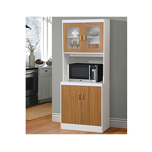 USA Stock-Tall Kitchen Microwave Stand Utility Cabinet Storage Shelves Cupboard(3 Colors) (Brown) (Microwave Mini Fridge Cabinet compare prices)