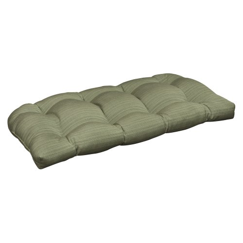 Pillow Perfect Indoor/Outdoor Green Textured Solid Sunbrella Wicker Loveseat Cushion picture