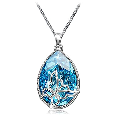 Brilla Pendant Necklace Women Fashion Jewelry 'Butterfly Dream' Teardrop Swarovski Elements Crystal