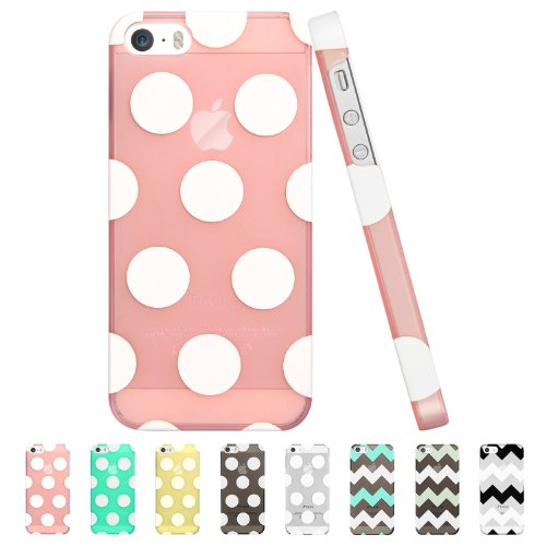 Iphone 5S Case,Esr The Beat Series Polka Dots Patterns Hard Back Cover Snap On Case For Iphone 5 / 5S (Transparent Pink)