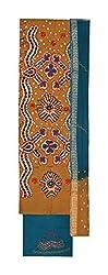Bandhej Mart Women's Cotton Salwar Suit Material (Brown and Rama Blue)