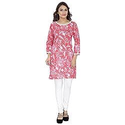 Savrish White Red Cotton Kurti Cut Sleeves Xtra Xtra Large