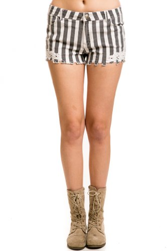 Pinstripe Embroidered Cutoff Shorts in Grey/White
