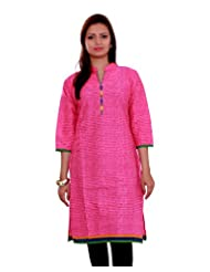 Adesa Women's Cotton Self Print Regular Fit Kurti - B00VHSEQ68