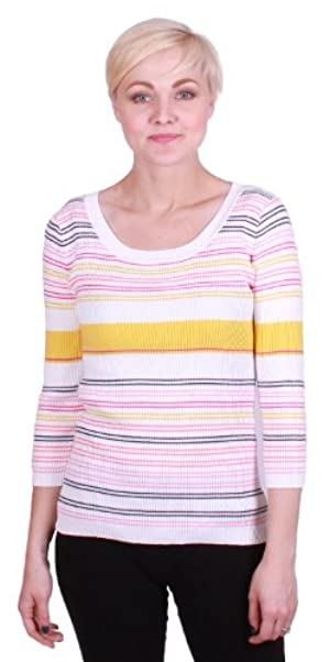 Lizwear Striped, Ribbed Cotton Knit Sweater (XL, Yellow Stripe/Multi)