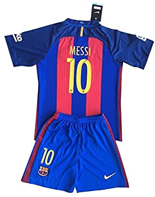 Messi #10 FC Barcelona 2016-2017 Youths Home Kit Shirt & Shorts