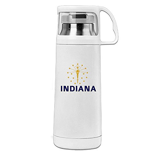 Bukinete Flag Of Indiana Stainless Steel With Transparent Cover Vacuum Cup