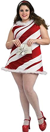 Secret Wishes Plus-Size Sexy Full Figure Ms. Candy Cane Costume, Red/White, One Size