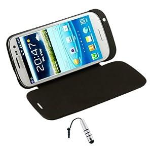 Black 3200mAh External Battery Flip Case for Samsung Galaxy S3 i9300 + Stylus Silver