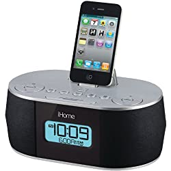 iHome Stereo System with Dual Alarm FM Clock Radio for iPad/iPhone/iPod (30-Pin, Not Compatible w/ iPhone 5/6 or any Lightning Compatible Models) (30-Pin Connector)