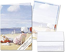 On the Beach, Shinnecock c. 1895 - Stationery Gift Set (20 sheets and 12 envelopes)