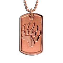 Copper Bear Trax Dog Tag Necklace Pendant. Made in USA.