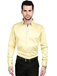 Big Tree Koshh Collection 100% Cotton Party Wear Shirt (Color - Yellow) (Size - 39)