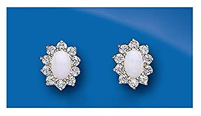 9ct Yellow Gold Real Opal Oval Cluster Stud Earrings