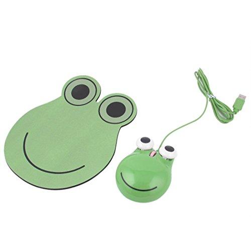 uxcell  USB オプチカル マウス 蛙の形 グリーン マウスパッド マット プラスチック 1個USB オプチカル マウス 1個マウス パッド入り