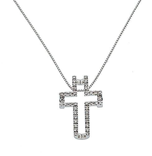 Orphelia Damen Halskette 18 Karat (750) Weißgold Diamant 42 cm weiß HD-4125
