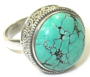 Size 8.5 Turquoise & Sterling Silver Ring