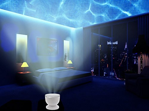 Aurora Master Sold by Abco Tech Multicolor Ocean Wave Light Projector, 12 LED, BLUE, RED, GREEN, MULTICOLOR, MP3 iPhone Speaker LED Night Light