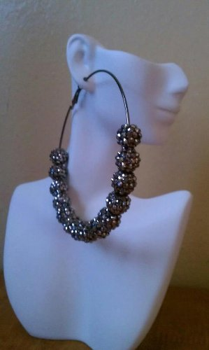 Popparrazzi Black Crystal Hooped Earrings