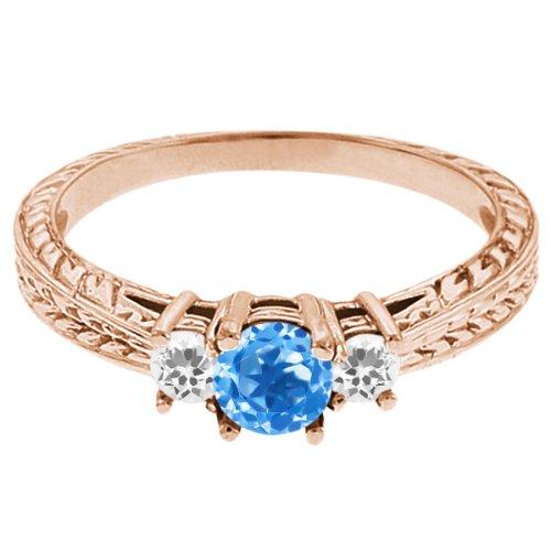 0.59 Ct Round Swiss Blue Topaz White Sapphire 14K Rose Gold 3-Stone Ring
