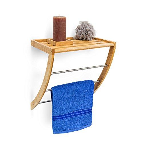 Wandhandtuchhalter aus Bambus mit 3 Handtuchstangen aus verchromtem Metall HBT 40 x 38 x 24,5 cm Badregal plus Badetuchhalter als Handtuchregal feuchtigkeitsresistentem Holz, natur