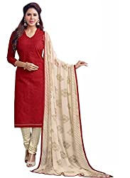 Fashions World Fancy Red Chanderi Dress Material