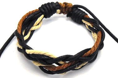 Mens Womens Surf Style Multi Coloured Cord Wristband Bracelet - 0064
