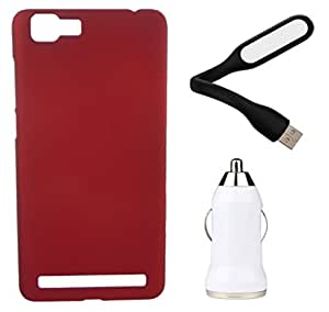 Toppings Hard Case Cover With Car Charger & USB LED Light For Vivo X5 Max - Red