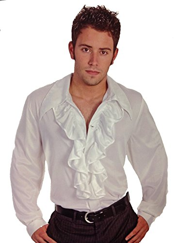 Old World White Men's Costume Shirt with Front Ruffles Size Large