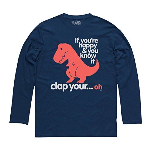 Goodie Two Sleeves Sad T Rex T-shirt manica lunga, Uomo, Blu navy, S