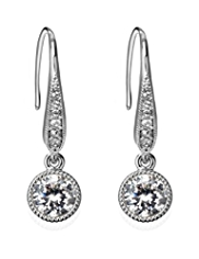 M&S Collection Platinum Plated Millgrain Diamanté Drop Earrings