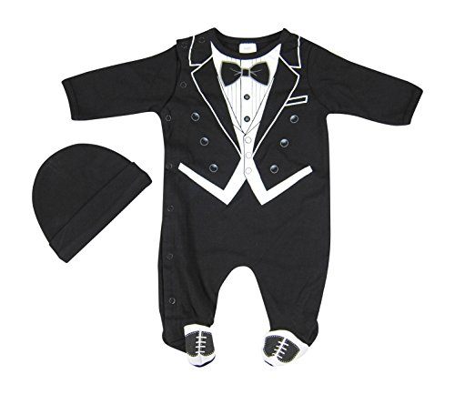 Hope Balloon Baby Boy'S 2 Piece Tuxedo Sleeper With Matching Hat 6 Months Black front-977903