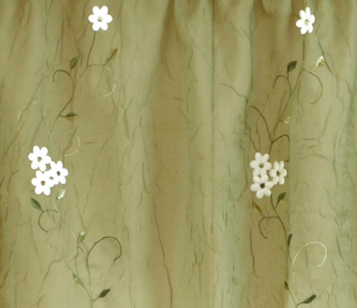 Daisy embroidered floral fabric shower curtain sage green