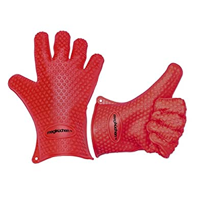 magikuchen - Heat Resistant Silicone Gloves Set - Best Value - Perfect For Use As Grilling, BBQ, & Cooking, Baking, Smoking, Or Potholder with Insulated Waterproof Five Fingered Grip to Protect Your Hands and Avoid Accidents