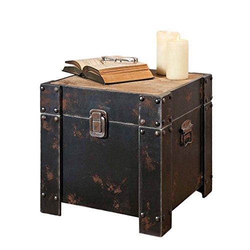 Truhe-Beistelltisch-Vintage-Look-Holz-Grau-Rost-Finish-ca-40-x-40-x-40-cm