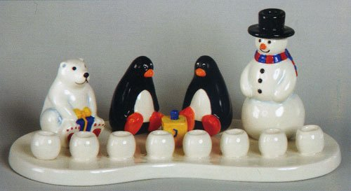 Gift Mark Themed Menorah, Ceramic Arctic - 1