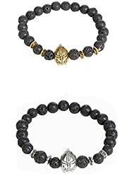 Outdazzle Golden & Silver King Face Designer Men Bracelet- Set Of 2