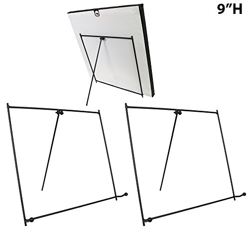 Black Metal Easels Wrought Iron Display Stands - 9 Inch - Set of 3 (Tabletop Easel Metal compare prices)